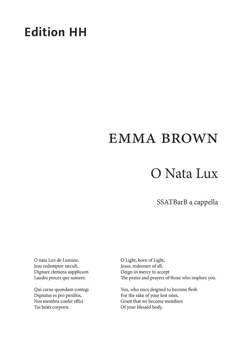 Brown, Emma: O Nata Lux